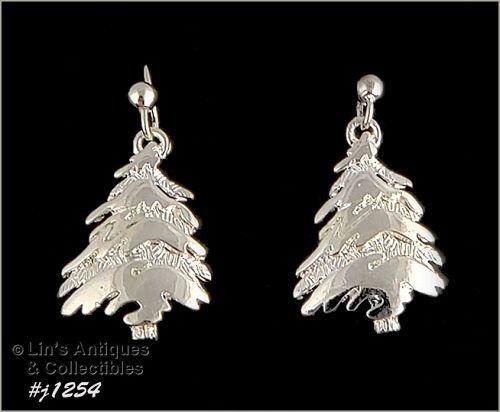 Signed Eisenberg Ice Christmas Tree Earrings Silver Tone