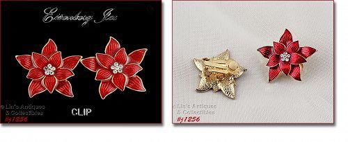 Eisenberg Ice Signed Red Poinsettia Earrings Clip Back