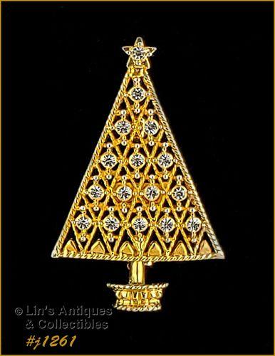 Eisenberg Ice Signed Christmas Tree Pin Gold Tone Clear Rhinestones