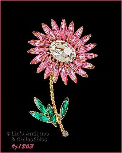 Signed Eisenberg Ice Pink Rhinestone Flower Shaped Pin