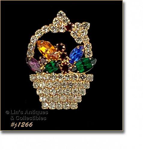 Signed Eisenberg Ice Basket of Flowers Rhinestone Pin