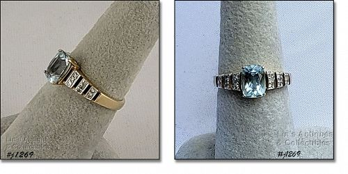 10k Yellow Gold Ring Blue Topaz and Diamond Size 7 1/4