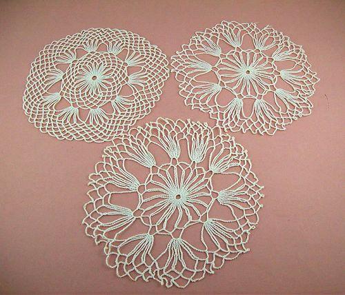 Vintage White Crochet Doilies Lot of Three