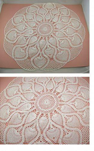 Vintage Crochet White Doily Large Table Top Size