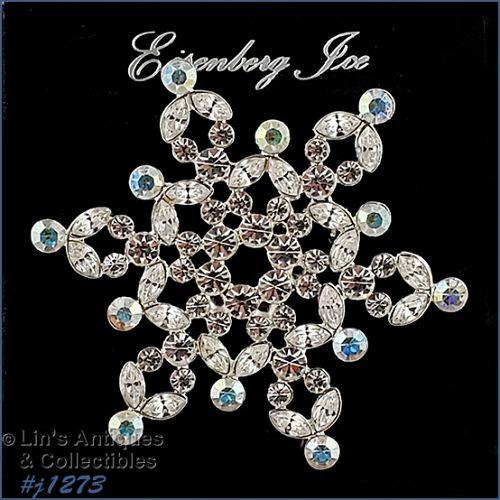 Signed Eisenberg Ice Rhinestone Snowflake Pin