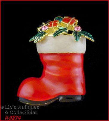 Signed Eisenberg Ice Vintage Santa Boot Pin