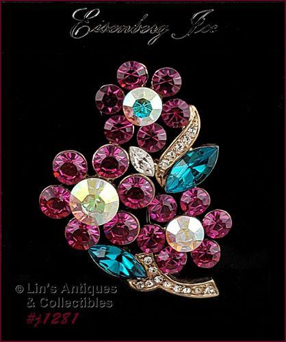 Signed Eisenberg Ice Rhinestone Flower Pin