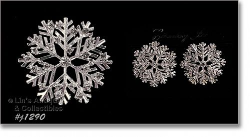 Eisenberg Ice Snowflake Pin and Earrings Set