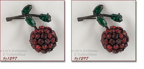 Signed Warner Pair of Rhinestone Cherry Pins
