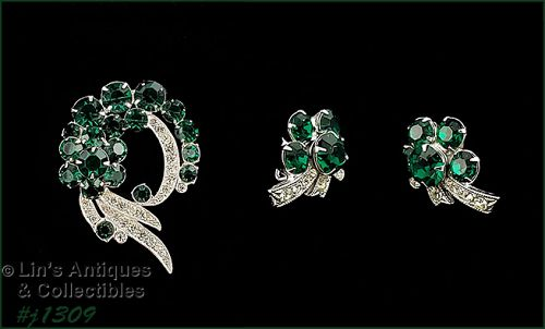 Eisenberg Ice Signed Pin and Earrings Emerald and Clear Rhinestones