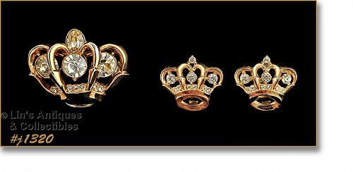Vintage Crown Shaped Pin and Matching Earrings