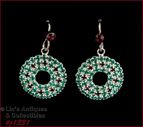Signed Eisenberg Ice Rhinestone Christmas Earrings