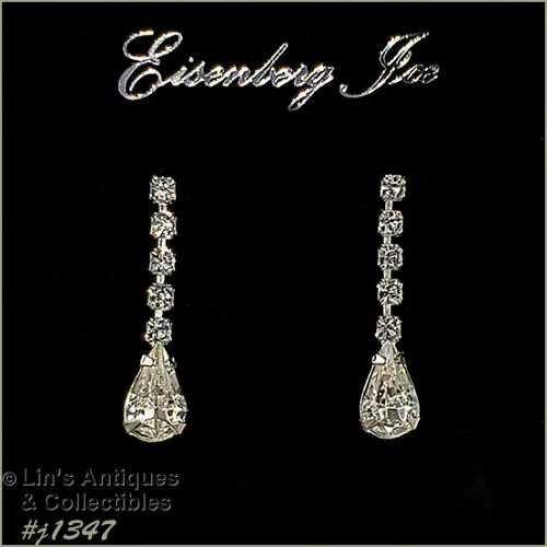 Eisenberg Ice Dangle Earrings Clear Rhinestones