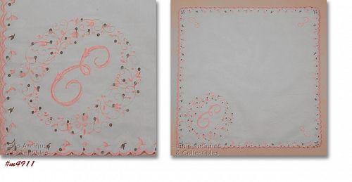 Vintage Nylon Monogram E Handkerchief