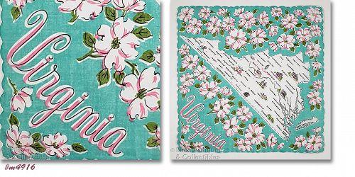 Vintage State Souvenir Handkerchief for Virginia