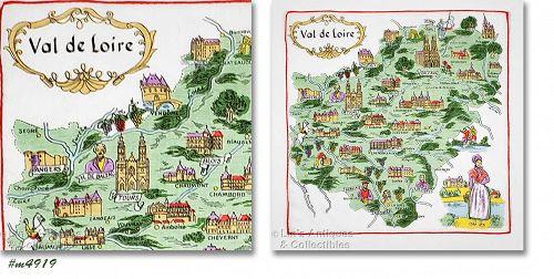 Vintage Souvenir Handkerchief  Val de Loire