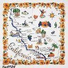 Vintage State Souvenir Handkerchief California