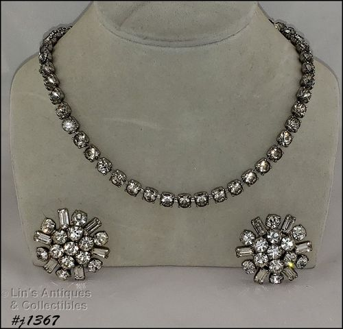 Vintage Clear Rhinestones Necklace and Earrings