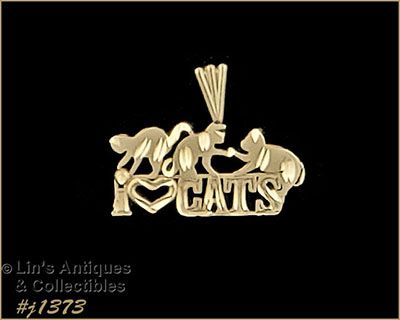 Michael Anthony 14k Yellow Gold I Love Cats Pendant