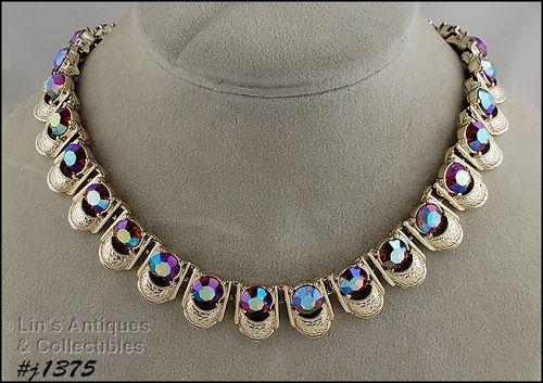 Vintage Coro Red Aurora Borealis Rhinestones Necklace