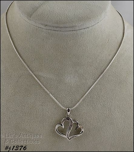 Entwined Hearts with Diamonds Silver Pendant and Chain