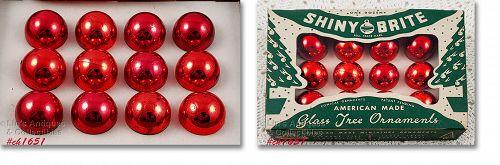 Shiny Brite Red Vintage Glass Christmas Ornaments