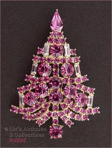 Signed Eisenberg Ice Pink Rhinestone Candle Tree Christmas Pin