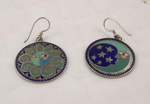 Laurel Burch Sister Wind Brother Moon Vintage Earrings
