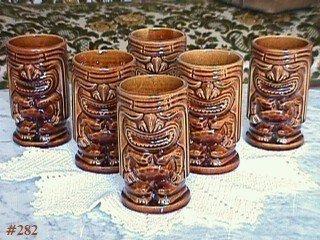 McCoy Pottery Tiki Mugs Set of Six