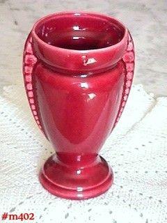 Shawnee Pottery Urn Shape Vase Burgundy Color
