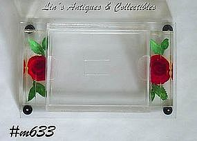 CLEAR LUCITE WITH ROSES CIGARETTE BOX