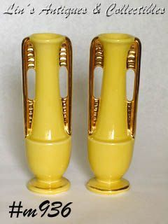Shawnee Pottery Bud Vases with Gold Trim