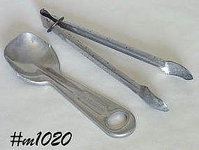 Vintage Marathon Aluminum Spoon and Ice Tongs
