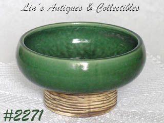 McCoy Pottery Pedestal Line Planter Green