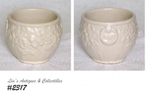 McCOY POTTERY VINTAGE MATTE WHITE LEAVES AND ACORNS JARDINIERE