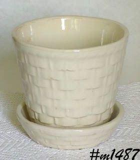 Morton Pottery White Basketweave Flowerpot