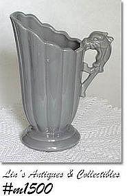 SHAWNEE POTTERY -- DRAGON HANDLE PITCHER (GRAY)