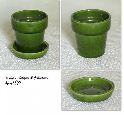 Haeger Pottery Green Flowerpot with Separate Drip Saucer
