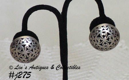 Vintage Sterling Silver Earrings Celtic Design Clip Back