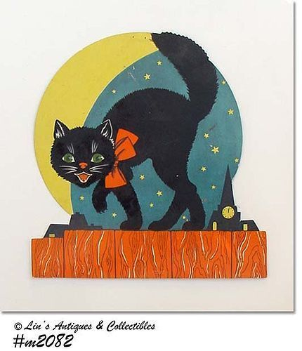 VINTAGE HALLOWEEN BLACK CAT ON A FENCE TABLE DECORATION MADE IN USA