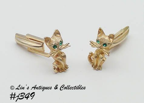 Vintage Cat Shaped Cufflinks Vintage Cuff Links