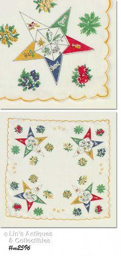 ORDER OF EASTERN STAR VINTAGE HANKY VINTAGE HANDKERCHIEF