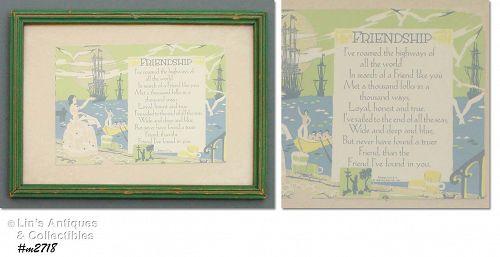 Vintage Framed Friendship Postcard Copyright Date 1930