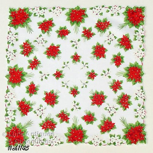 Vintage Christmas Hanky Red and White Poinsettias