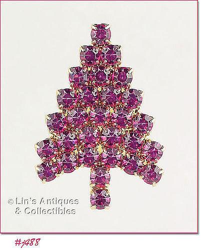 EISENBERG ICE � PINK RHINESTONES CHRISTMAS TREE PIN
