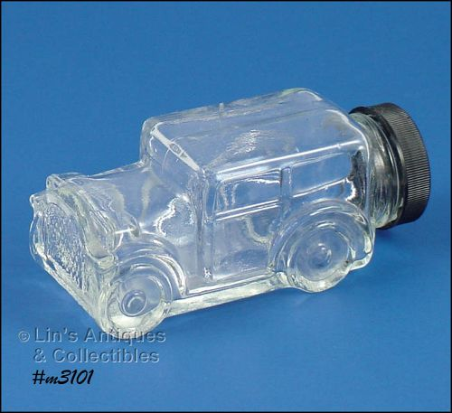 Vintage 1929 Model Car Glass Candy Container