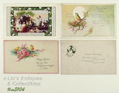 Lot of 4 Vintage Easter Postcards 1 of Jesus in Boat