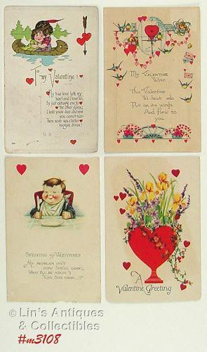 Vintage Valentine Postcards Lot of 4