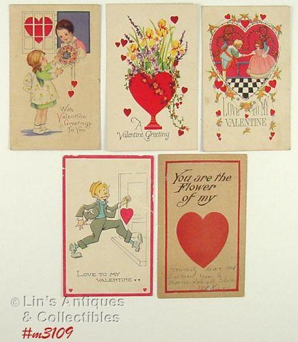 Vintage Valentine Postcards Lot of 5