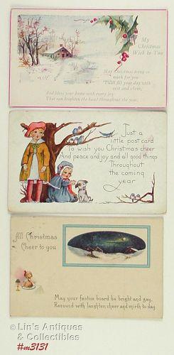 Vintage Christmas Postcards Lot of 3